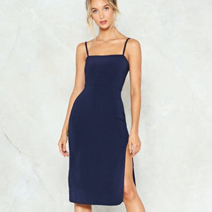 Nasty Gal Square Neck Thigh Split Midi Dress